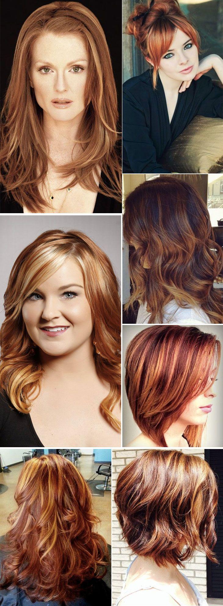 Inspirações de cabelos com luzes: ruivos