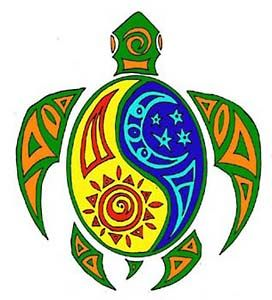 turtle with sun and moon = cool design!