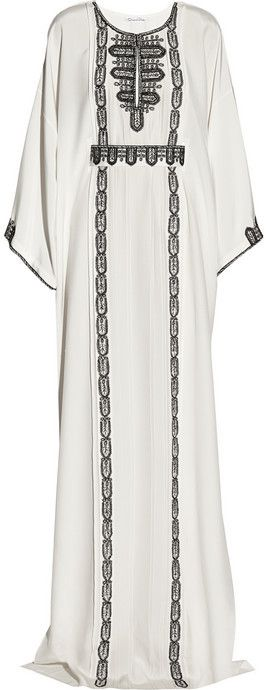 Oscar de la Renta Embroidered silk kaftan on shopstyle.com