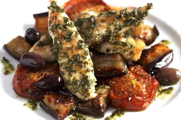 Pesto chicken with caramelised aubergine, roast tomatoes and olives