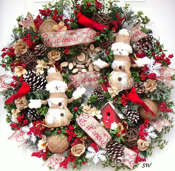 Winter Wreath Snowman Wreath Christmas Wreath Bird House