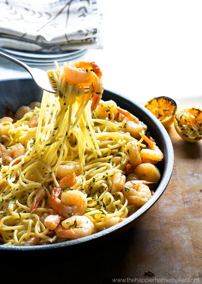 Lemon and Garlic with Shrimp and buttery gf noodles for an easy 15 minute weeknight dinner. Doing it! ~ thehappierhomemaker.com
