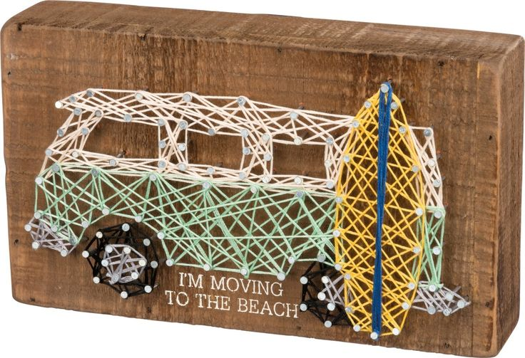 I'm Moving To The Beach with Retro Mini Bus and Surfboard - Feather String Art Plank Board Box Sign - 15-in