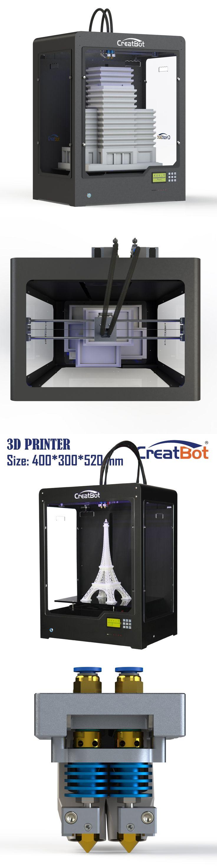 best selling DE plus 02 3d printer machine dropship dual extruders DIY modeling super big size free 2 spools ABS/PLA filament
