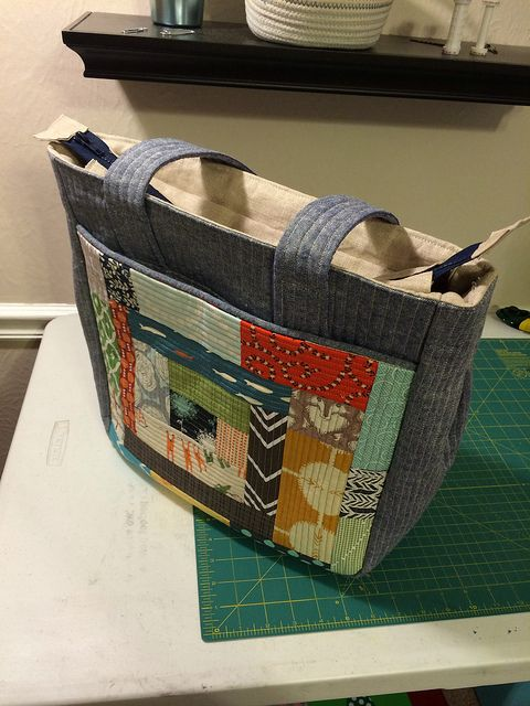 super tote with quilt block pocket