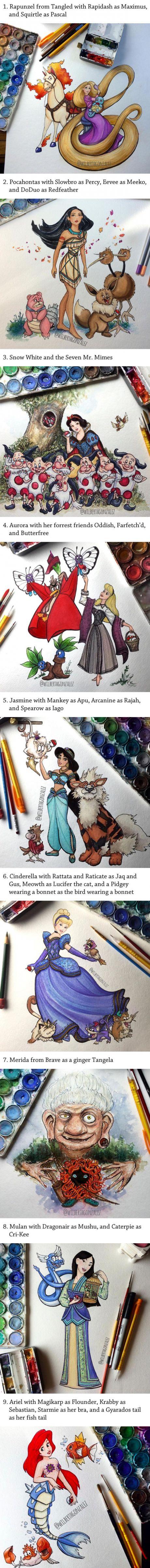 Artist Draws The Disney Princess Sidekicks As Pokémon. They Fit So Well! (Wilberth R. Gonzalez)