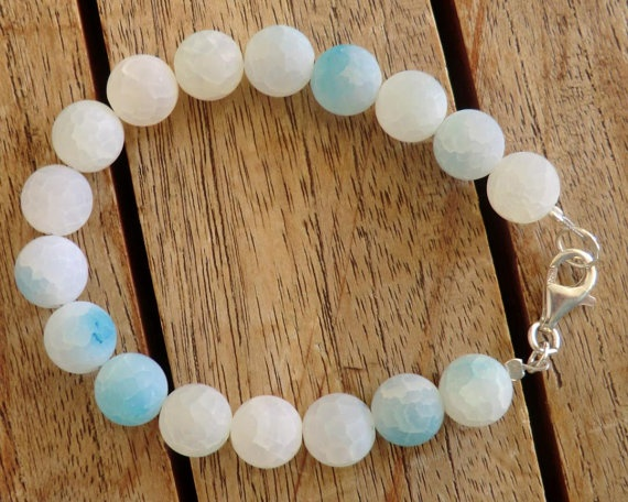 Beaded bracelet aqua agate beads silver 925 findings by craftysou, $30.00
