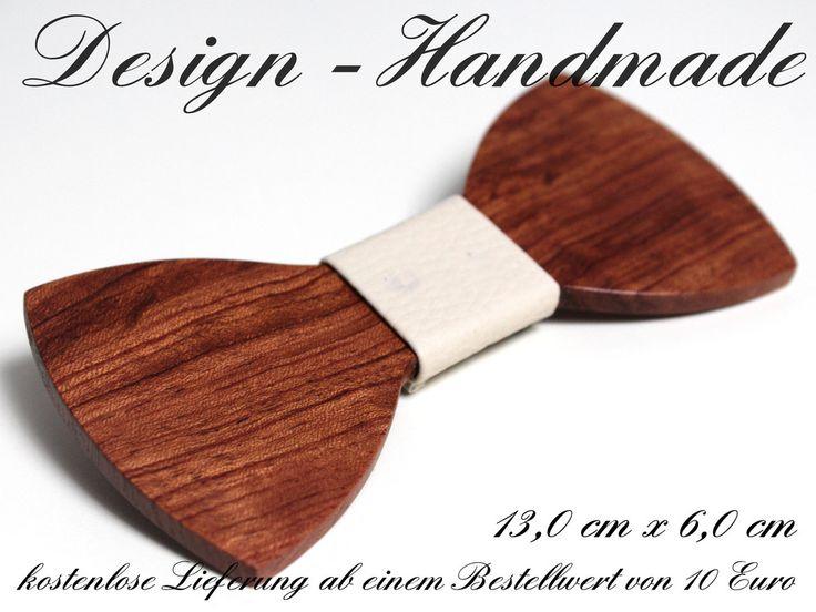 Fliegen - Holz Fliege Rosenholz Bräutigam Weiß-Creme XL - ein Designerstück von Design-Handmade bei DaWanda
