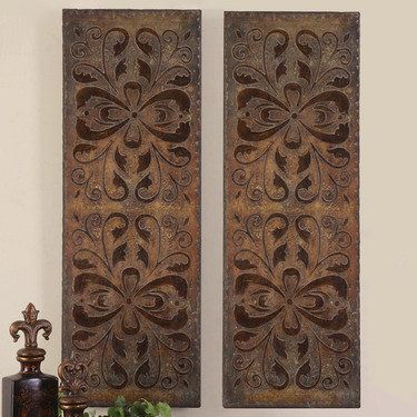 Uttermost alexia panels on sale these decorative wall panels are finished in heavily antiqued rust brown with burnished distressing and gold highlights