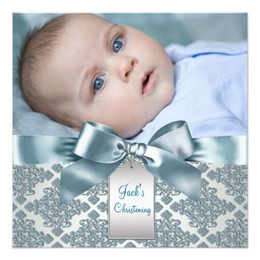 Batismo azul da foto do bebé do damasco da cerceta convites personalizados