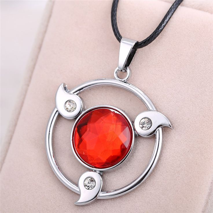 New Cospaly Jewelry Anime Naruto Necklace Kakashi Uchiha Itachi Pendant Magatama Write Round Eyes Wheels Red - free shipping worldwide