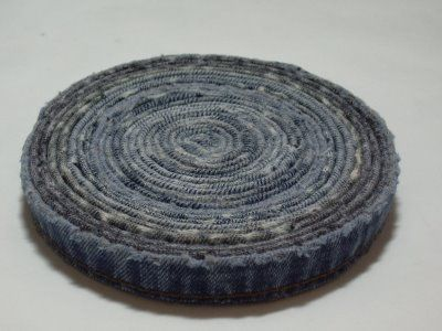 Recycle those jeans! Denim Coasters made from just the HEM of a pair of jeans. Cool idea!