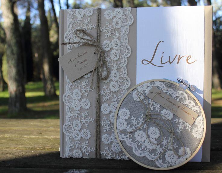 Ensemble livre d'or + porte-alliance gamme |Mariage dentelle| : Faire-part par la-mariee-inspiree