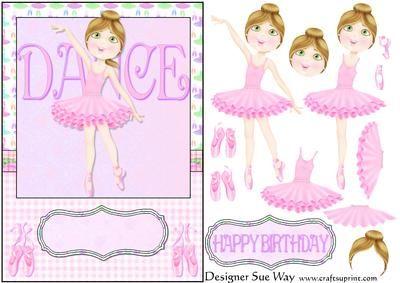 DANCE Ballerina (light skin) Card Front and Decoupage