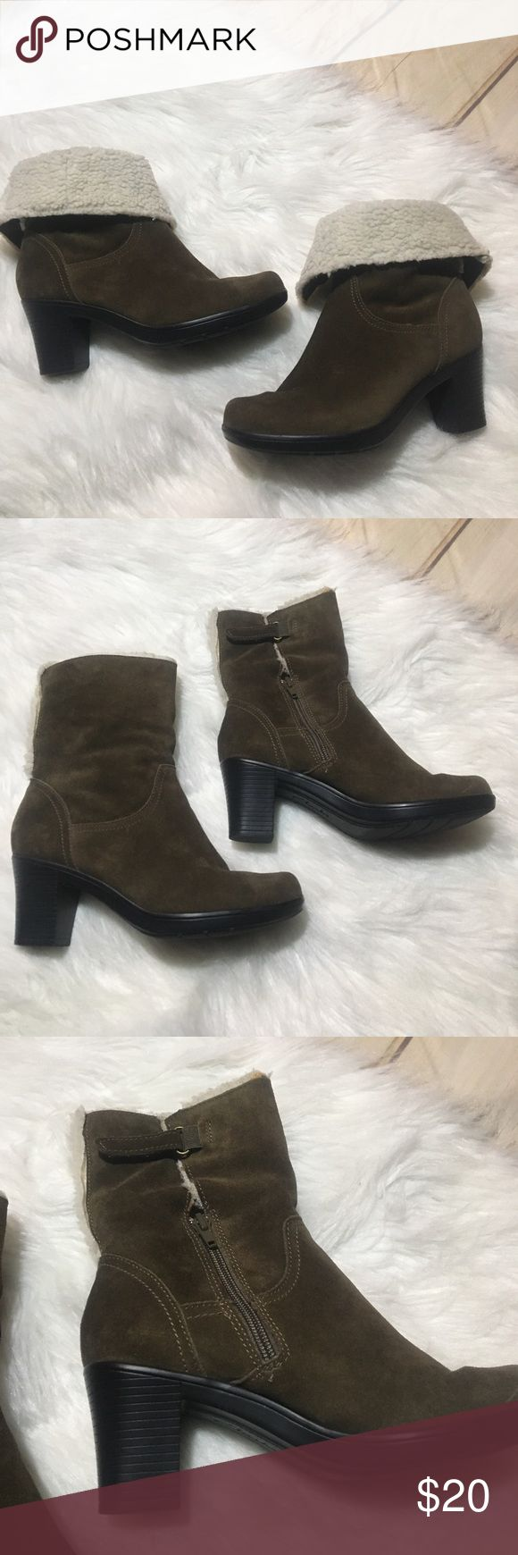 """Clarks Booties Suede Heeled Boots Faux Fur 5 1/2 Clarks Booties Leather Suede Heeled Boots Faux Fur 5 1/2 Women size. Brownish / Olive Green Colored with Cream colored Faux Fur which could be worn up or down as shown. The Fur has wear as shown and the inner stretch suede has wear/tear markings. Soles are in great condition. Zips on sides. Boots measures approx 7"""" if worn zipped up and 4 1/2"""" if worn folded. Heel measures approx 2"""". Clarks Shoes Ankle Boots & Booties"""