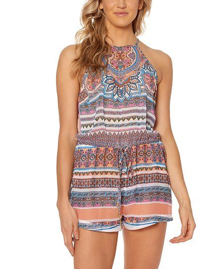 Jessica Simpson Collection White & Purple Arabesque Sleeveless Romper Cover-Up | zulily