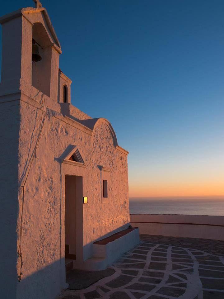 Church in Karpathos at sunset
