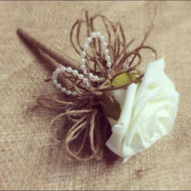 Ivory foam wedding pen... Rustic twine, ribbon and pearls