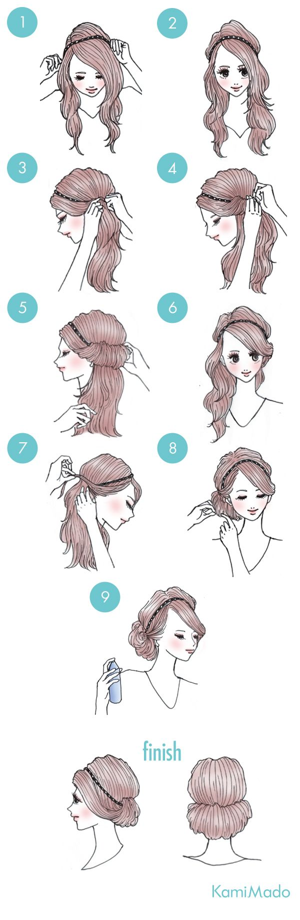 #Kamimado. A simple updo hairstyle for hair of any length with nothing but a  hair belt.