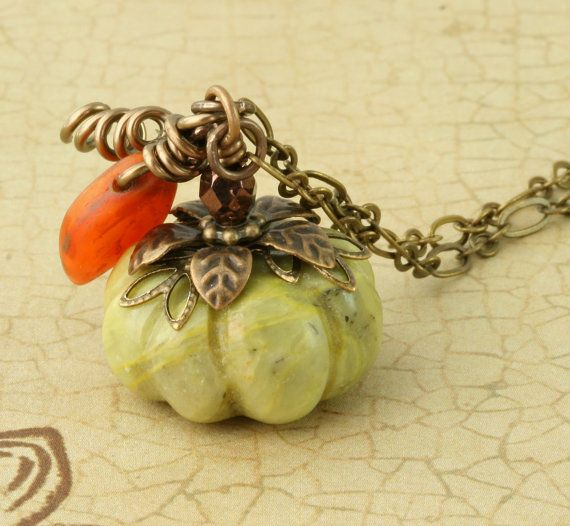 Green Pumpkin Necklace Halloween Necklace Autumn Necklace Green Pumpkin Long Brass Chain Orange Leaf Halloween Autumn Fall Woodland Rustic