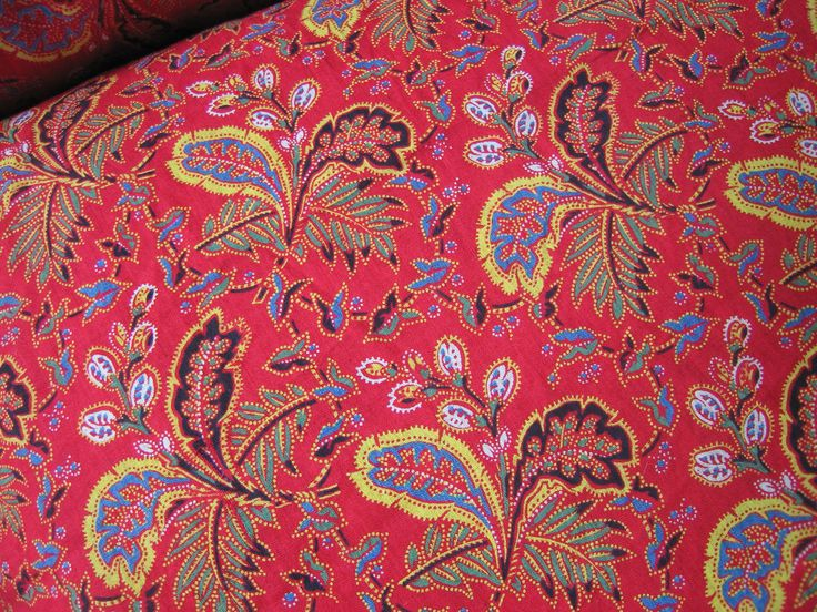 Antique Vintage Turkey Red Printed Cotton 1 yard x 30 inch width - Quilting by textilesgoneby on Etsy