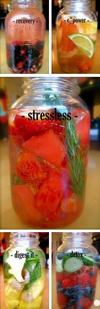 Aside from the awesome health benefits, these mason jar water concoctions look amazing! #detox