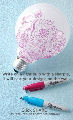 Light bulb art! Cast your designs on the walls. Very cute! | Crafts For Teens