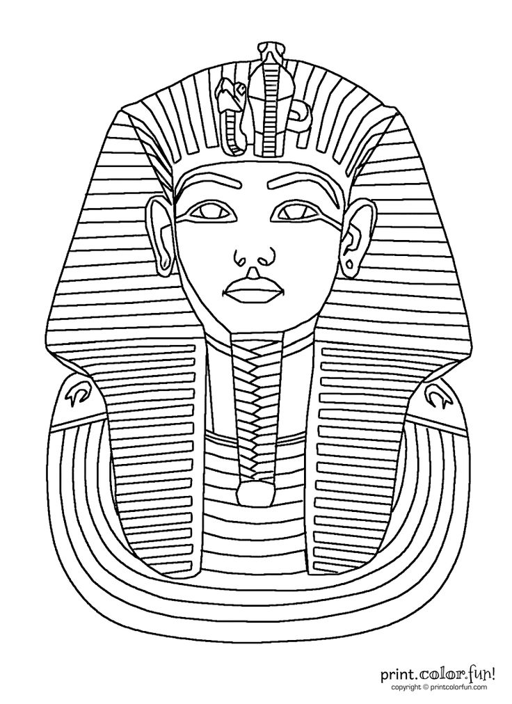 King Tut mask Print Color Fun Free printables