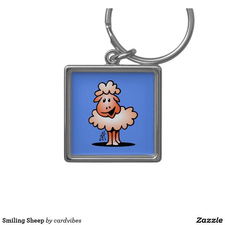 Smiling Sheep Keychain. #sheep #keychain #gifts #giftideas #Zazzle #Cardvibes #Tekenaartje #SOLD