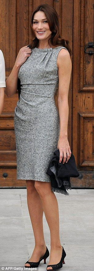 Carla Bruni-Sarkozy, and the Grey Dress that can do no wrong..