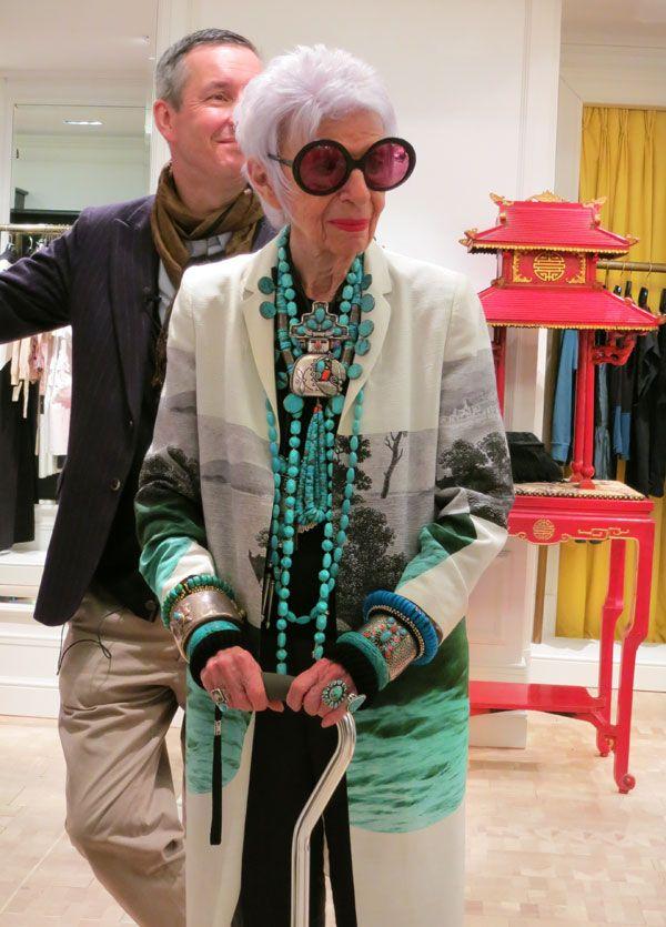 Legendary tastemaker, fashion and style icon Iris Apfel. Turquoise jewellery!