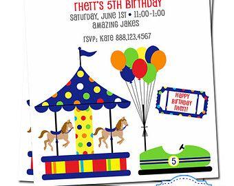 Amusement Park Invitation - Theme Park Invitation - Boys Birthday Party - Merry go Round - Digital File