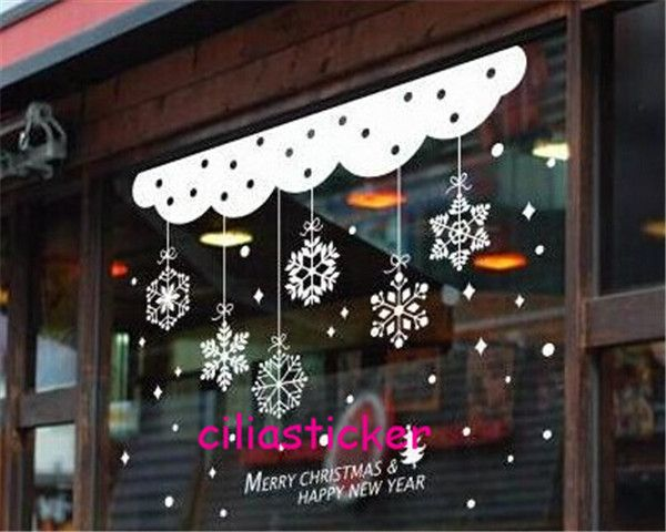 3 x 920*580mm removable wall sticker decal WHITE MERRY CHRISTMAS SNOWFLAKE SNOW HAPPY NEW YEAR SHOW window room home decoration