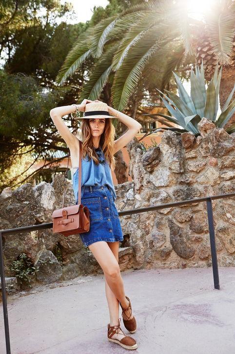 Cute summer outfit ideas: an A-line denim skirt like Blonde Salad