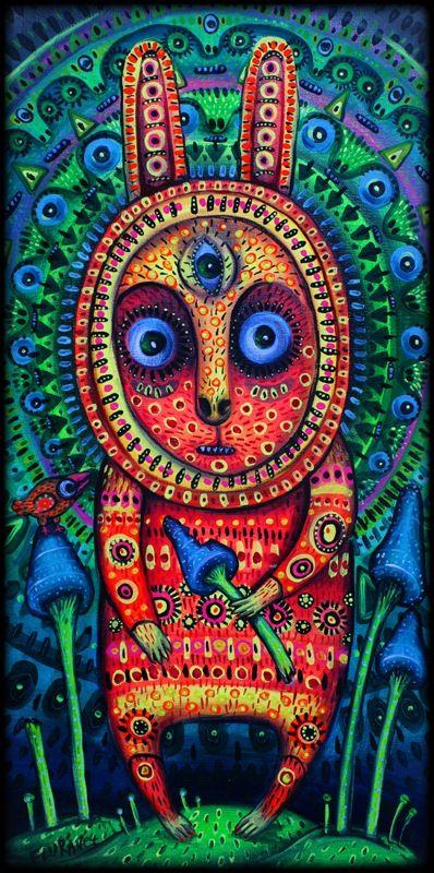 Psychedelic rabbit on magic mushrooms