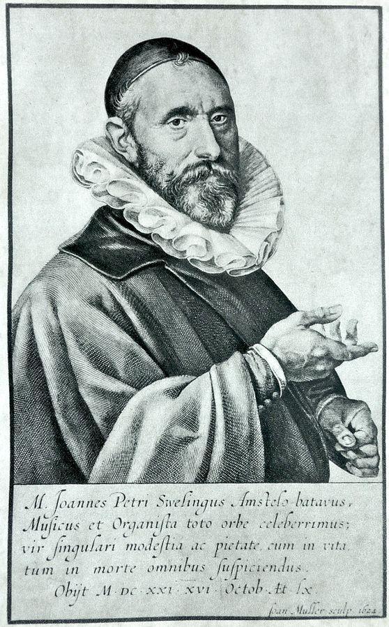 Jan Pieterszoon Sweelinck (1562-1621), engraving (1624), by Jan Muller (1571-1628), after a painting (1606), by Gerrit Pieterszoon Sweelinck (1566-1612).