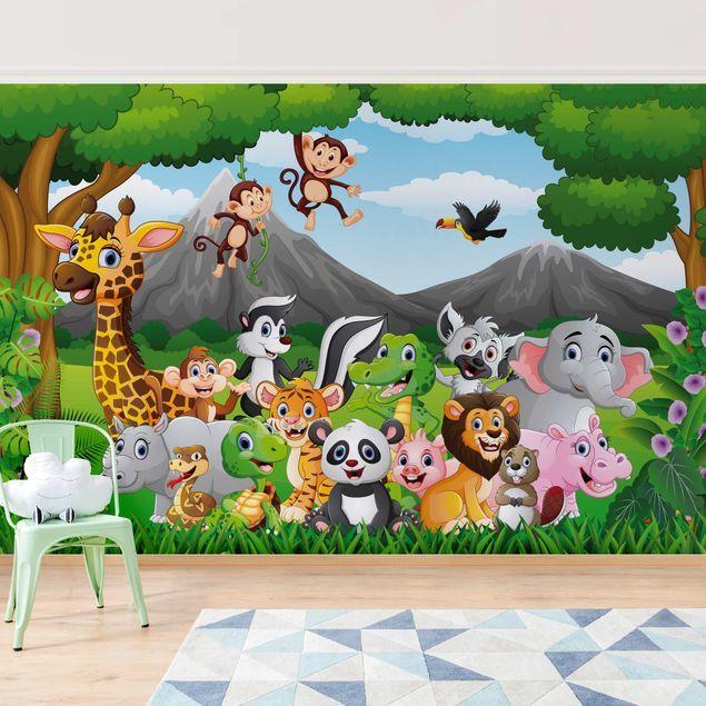 Carta da parati bambini Animaletti della giungla