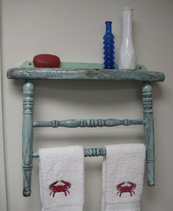 Transform an old chair into a towel rack and shelf.