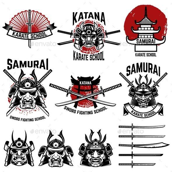 Karate School Labels. Samurai Swords, Samurai