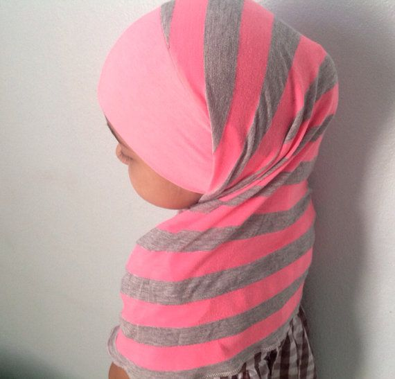 Neon hot pink and heather gray girl's tie back by madebyloved, $9.99 (I need one too!)