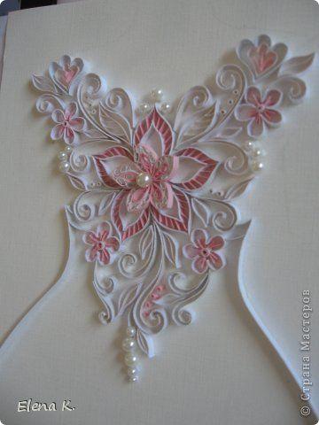Картина панно рисунок Квиллинг Узор на свадебном платье Бумажные полосы фото 5