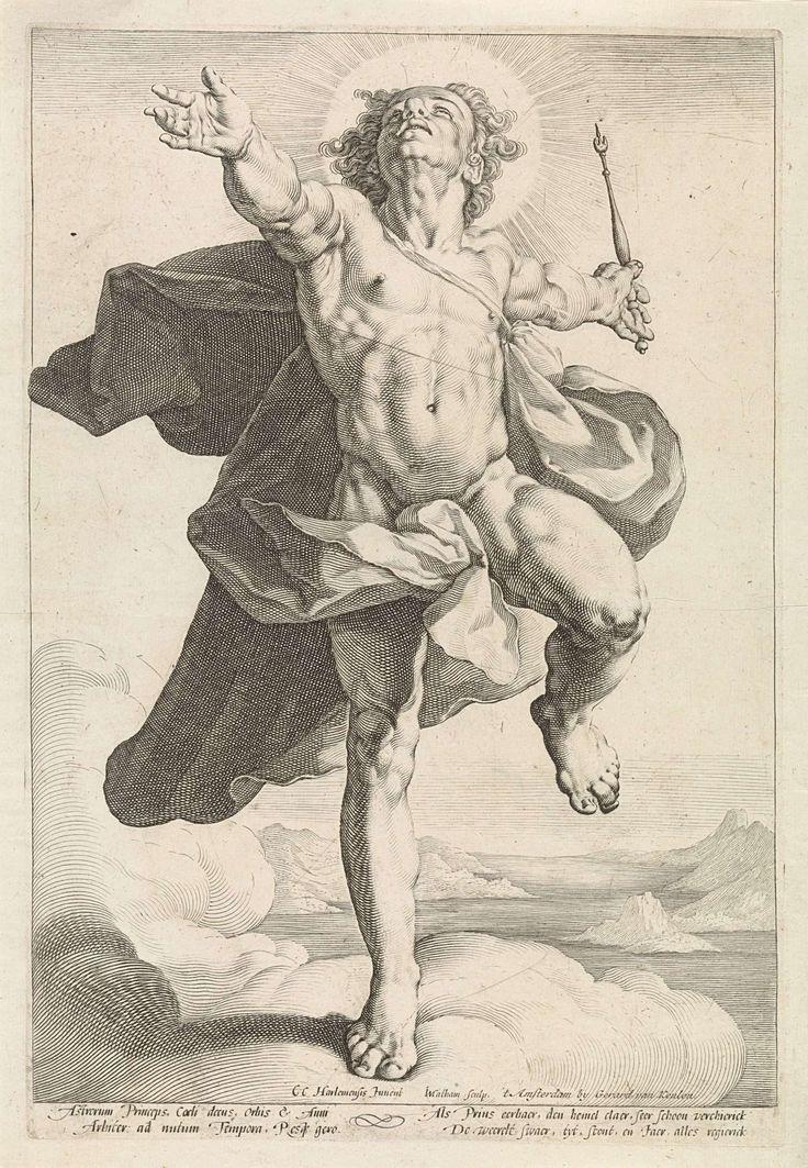 Jacob Matham   Apollo als Helios, Jacob Matham, Gerard van Keulen, 1589 - 1593   Apollo als de zonnegod Helios (Sol). Pendant van Diana als de maangodin Luna.