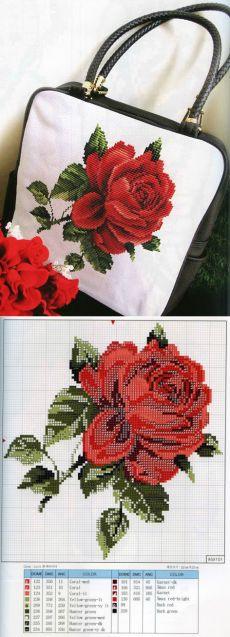 Сумка с вышитой розой