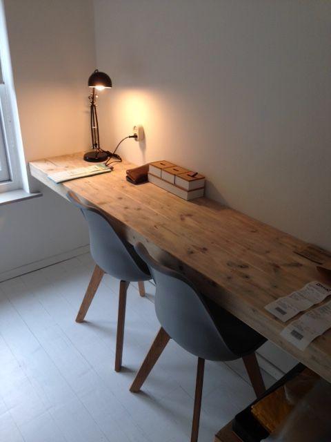 Werkblad Maxime, materiaal steigerhout, in verstek afgewerkt. Ontwerp en realisatie www.meubelenmaatwerk.nl/www.steigerhoutenzo.nl:
