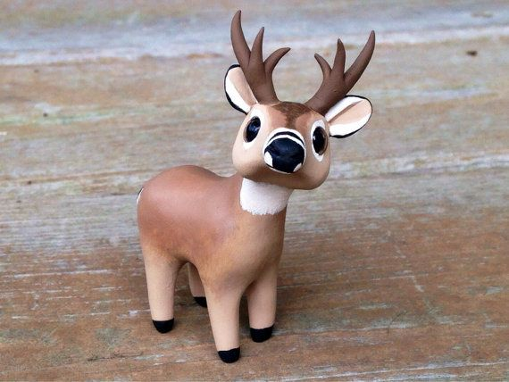 Re-Pin By @siliconem -  White-tailed deer: Handmade miniature polymer by AnimalitoClay