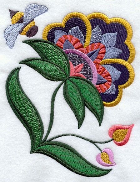 JACOBEAN FLOWER 4   MACHINE EMBROIDERED QUILT от AzEmbroideryBarn