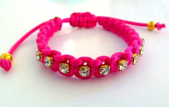 Macrame hot pink rhinestone bracelet by NNbraceletsandmore on Etsy, €6.00