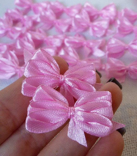 Pink satin ribbon bows pink applique bows pink gift by Rocreanique on Etsy