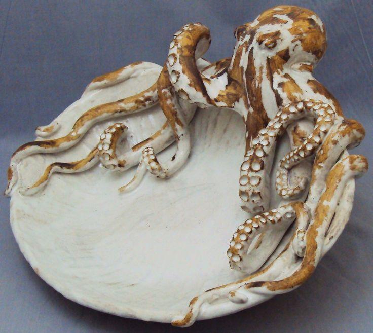 Beach Pottery Ideas: Octopus Platter Ceramic Sculpture: Beach Decor, Coastal