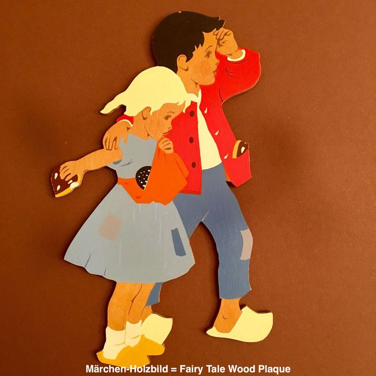 Märchen-Holzbild 💙 Fairy Tale Wood Plaque No3: HÄNSEL UND GRETEL HELLERKUNST in Antiquitäten & Kunst, Volkskunst, Volkskunst   eBay!